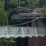 Suspension Bridge being fitted at Luton Site.